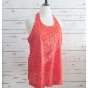 Nike Red Mesh Layered Razor Back Tank Top